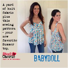 Looking for your next project? You're going to love Babydoll Top Misses Bust Sizes 32-48 by designer Cherie Killilea.
