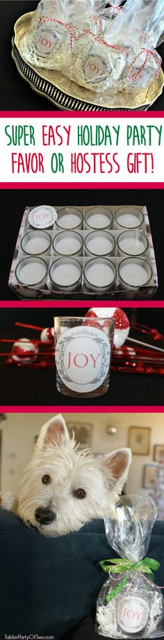 This Holiday Hostess Gift/Party Favor is so inexpensive and easy to make! My instructions and free printable make it simple for you!