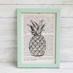 Pineapple print, Framed picture, Pineapple poster, Hipster room decor, Dictionary print, Book art, Dorm decor, Bedroom decor, Easter gift by Rachelsfinelines on Etsy