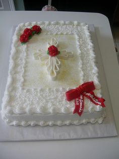 I made this cake for our confirmation class' banquet.  White...