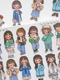 Cute Cartoon Drawings, Cartoon Girl Drawing, Cartoon Art, Little Girl Cartoon, Cute Doodle Art, Cute Doodles, Cute Art, Cartoon Stickers, Kawaii Stickers