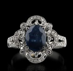 14KT White Gold 222ct Sapphire and Diamond by RighteousRecycling,