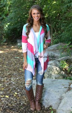 The Pink Lily Boutique - My Stripe of Girl Pink and Mint Cardigan , $32.00 (http://thepinklilyboutique.com/my-stripe-of-girl-pink-and-mint-cardigan/)