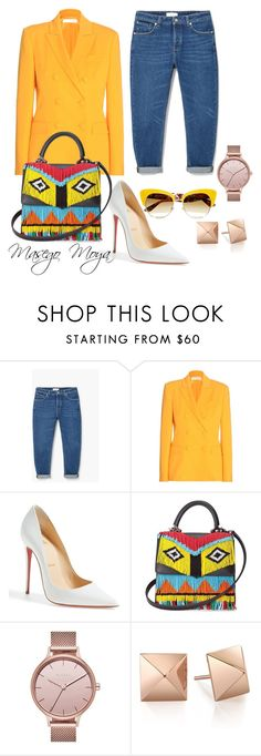 """Yellow it is  MM Creations"" by masego-moya ❤ liked on Polyvore featuring MANGO, Altuzarra, Christian Louboutin, Les Petits Joueurs, Skagen and Dolce&Gabbana"