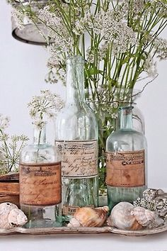 Old label, bottles, shells and wildflowers on silver tray