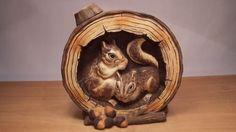 Vintage W. Whiskey Decanter, Squirrels, Lion Sculpture, Porcelain, Statue, Vintage, Chipmunks, Porcelain Ceramics, Vintage Comics