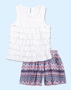 From CWDkids: Ruffle Front Sleeveless Top & Aztec Print Shorts
