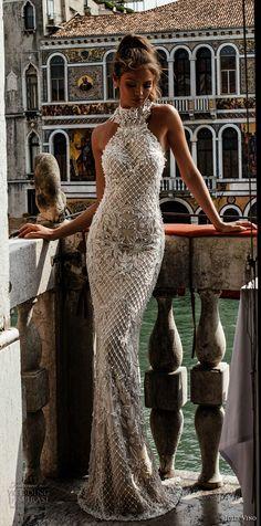 julie vino spring 2018 bridal sleeveless halter neck full embellishment elegant glamorous sheath wedding dress open back sweep train (10) mv -- Julie Vino Spring 2018 Wedding Dresses