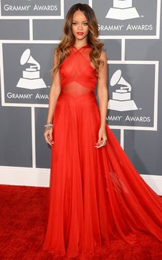 Rihanna's Alaia red gown for the Grammy red carpet.  #red #rihanna #Grammys