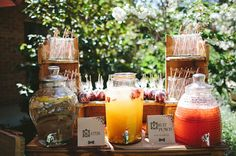 Drink station:signs, jars, colour, dispensers