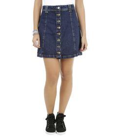 Saia Jeans Evasê Azul Escuro - cea