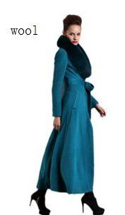 Teenloveme 2013 New Arrival Women's Fox Wool Long Sleeves Sheath Long Outwearake Blue