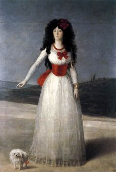 Goya, The Duchess of Alba. 1795.  María del Pilar Teresa Cayetana de Silva Alvarez de Toledo became the 13th Duchess of Alba (one of the oldest and most influential noble houses in Spain) in the year 1776. Her marriage to José María Alvarez de Toledo y Gonzaga, 15th Duke of Medina-Sidonia made the couplethe wealthiest couple in the Kingdom of Spain; their only rivals to this title were the House of Osuna.