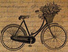 bicicleta arpillera igital Download Collage Sheet Burlap Transfer Vintage BICYCLE Basket Flowers Ribbons Bike Iron On T-SHIRTs Fabric Pillows Totes 1804