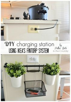 Clever way to keep your phone or iPad off the kitchen counter with its own special charging spot.