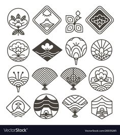 Japanese monochrome icons set with ethnic motifs Vector Image Small Japanese Tattoo, Japanese Tattoo Women, Japanese Tattoo Symbols, Japanese Symbol, Japanese Tattoo Designs, Japanese Sleeve Tattoos, Japan Illustration, Japan Logo, Chinese Patterns