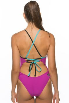 Gabriel Tie-Back Onesie - French Mulberry & Black // Athletic and Performance Swimwear and Clothing for: competitive swim, surf, paddle board, water polo, kite board, dive, beach volleyball, swimming, yoga, and other athletic/fitness/sports 4w