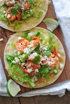 This will be dinner tonight - Buffalo shrimp tostadas. Seafood Dishes, Seafood Recipes, Mexican Food Recipes, Dinner Recipes, Cooking Recipes, Healthy Recipes, Ethnic Recipes, Mexican Dinners, Healthy Dinners