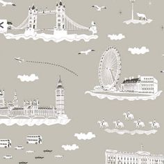 Buy online YSD London Wallpaper, Wish You Were Here in London - Summer Holiday design. Repeat : Roll: x Minimum order is 2 Rolls Luxury Wallpaper, Contemporary Wallpaper, Designer Wallpaper, Quirky Wallpaper, Kitchen Wallpaper, London Winter, London Summer, London Bedroom Themes, Room London