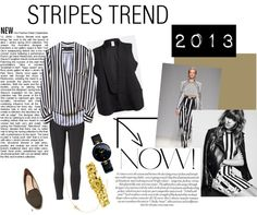 """Stripes Trend"" by vivialexa on Polyvore    A couple of months ago a got this Zara Stripes blouse which I have been using non-stop. (Despite that every time my BF sees me he screams beetlejuice) Today I paired it with a black vest, Zara flats and lots of gold jewelry"