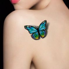 waterproof temporary tattoo tatoo henna fake flash tattoo stickers Taty tatto tatuagem tattoos tatuajes 2016 new style Realistic Butterfly Tattoo, Blue Butterfly Tattoo, Butterfly Tattoo On Shoulder, Butterfly Tattoo Designs, Tattoo Designs For Girls, Shoulder Tattoos, Butterfly Tattoos For Women, Bild Tattoos, Body Art Tattoos