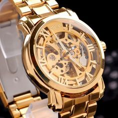 27d7c8a198c brand MCE!unisex golden Steel Luxury christmas gift watch AUTOMATIC Watch  Gold Skeleton Mechanical