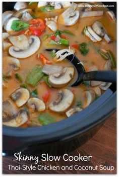 Skinny Slow Cooker Thai-Style Chicken and Coconut Soup | AllFreeSlowCookerRecipes.com