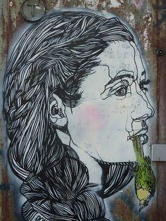 Girl with green bird by Don John Don John, Illustration Sketches, Community Art, Urban Art, Murals, Denmark, Art Work, Sick, Cool Art