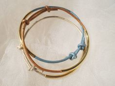 Less is more...Set of three handmade leather bracelets by twolittlefairies