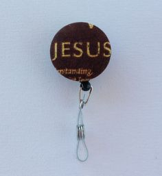 Retractable ID Badge Holder Fabric Button Jesus chic / cute / preppy / fabric / covered button / clip-on / retractable cord / patterened / coworker or school gifts / nurses gift / badge reel / nurse id / student id holder / id reel