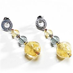 Phenomenally beautiful blown glass drop earrings, set on hypo-allergenic stainless steel with a stud fitting. Available in other colours. http://www.oghamjewellery.com/Antica-Murrina-Columbia-5-Glass-Earrings-OR327A-p/or327.htm