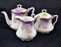 Victorian Tea Party Jubilee Purple Lilac Three Piece Hand Painted Teapot Sugar Creamer Set Bavaria Porcelain China Set. 125 via Etsy.