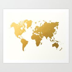 Gold+World+Map+Art+Print+by+Samantha+Ranlet+-+$16.00