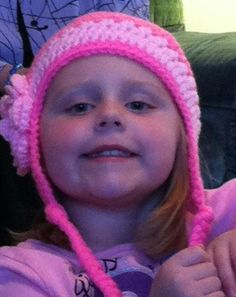 My great niece Kaitlyn wearing the hat I made her for Christmas.
