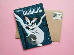 Sugar Glider Australian Recycled Greeting Card / you are