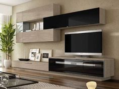 Design wall unit Best in lacquer or wood decor - glass cabinet TV Lowboard uvm. Living Room Tv Unit Designs, Living Room Wall Units, Home Living Room, Living Room Decor, Tv Wall Design, Design Case, House Design, Tv Wanddekor, Tv Unit Furniture