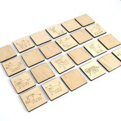 Wood Toy Matching Game, memory tile kids toy