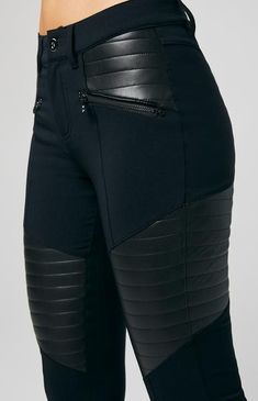 The Sabina Moto Pant is an edgy take on the classic, with vegan leather quilted panels and decorative front zippers. Edgy Outfits, Fashion Outfits, Womens Fashion, Prep Fashion, Rock Outfits, Moto Pants, Pants Outfit, Geek Outfit, Outfit Sets