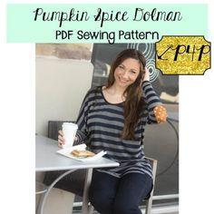 Pumpkin Spice Dolman women's PDF sewing pattern by Patterns for Pirates
