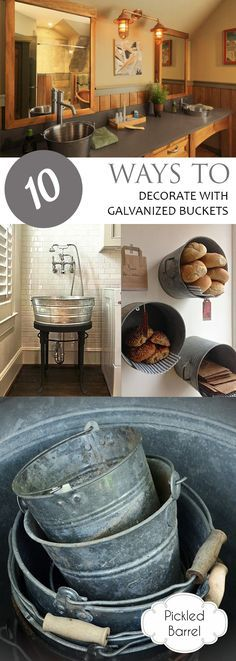How to Decorate With Galvanized Buckets, Decorating With Galvanized Buckets, Rustic Decor, Things to Do With Galvanized Buckets, Decorating, Rustic Decorating Ideas, Rustic Home, Popular Pin