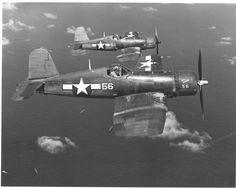 F4U-1A Corsair aircraft of VMF-113 in flight over Eniwatok 1944