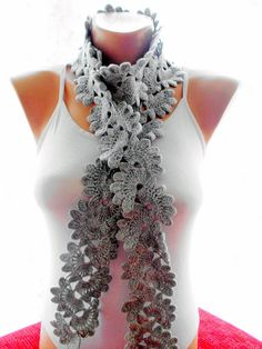 Crocheted Gray Lace Neckwarmer scarf fashion by redrosewholesaler #etsy #etsygifts #etsyfinds #etsyfashion