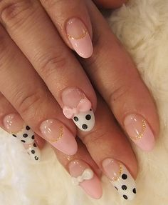 Bow Nail Art on rounded nails