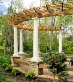 curved cedar pergola ideas picture