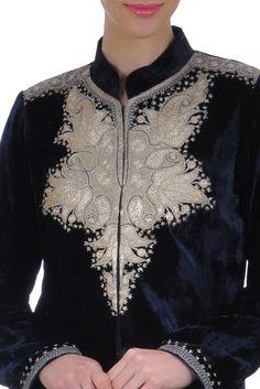 Midnight Blue Velvet-Silk Antique Tilla Kashmiri Kashida Jacket Suit