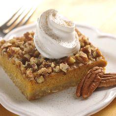 Pumpkin Pecan Pie Squares Recipe- tastes like pumpkin pie with a buttery toffee like pecan topping. Pumpkin Pecan Pie, Pumpkin Dessert, Pumpkin Recipes, Pumpkin Spice, Libby's Pumpkin, Recipe Using Pumpkin, Pumpkin Foods, Pumpkin Pudding, Spiced Pumpkin