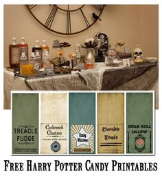 Free Harry Potter/Halloween Candy Party Printables :     Cauldron Cakes, Cockroach Clusters, Ton Tongue Toffee, Bertie Botts Every Flavor Beans, Chocolate Frogs, Fizzing Whizzbees, Acid Pops, Chocolate Wands, Sugar Quill Lollipop,Jelly Slugs, Treacle Fudge, Pepper Imps
