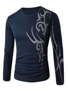 Round Neck Abstract Print Slim Fit Long Sleeve Men's T-Shirt