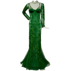 Tom Ford Emerald Green Embroidered  Silk Satin Lace Dress | From a collection of rare vintage evening dresses at https://www.1stdibs.com/fashion/clothing/evening-dresses/