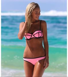 AUYLVY High Grade Nylon Bikinis 2018 Swimwear Women Bandage Swimsuits Brazilian Push Up Bikini Set Bathing Suits Biquini Beach Sexy Bikini, Bikini Rose, Pink Bikini Set, Push Up Bikini, Bandeau Bikini, Bikini Swimwear, Triangl Swimsuit, Daily Bikini, Black Bikini